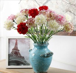Wholesale Wholesale Fake Carnations - DIY Fresh Artificial Flower Carnation Silk Flower Fake plant for Mother's Day Home Party Decoration 7 Colors G511