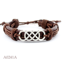 Wholesale Sailing Charms - Christmas Gift Antique Tibetan Silver Double Infinity Charm Adjustable Leather Bracelet Nautical Sailing Punk Friendship Jewelry Any Color