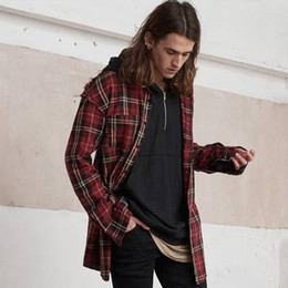 Wholesale Vintage Check Shirts - Vintage Plaid Shirts For Men Hip-Hop Raw Edge Cotton Long Shirts Red Long Sleeve Checked Casual Shirts Unisex Streetwear OSG1008