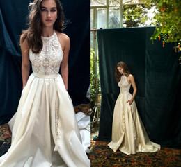 Wholesale Wedding White Dress Pockets - Lihi Hod 2017 Ivory Lace Boho Wedding Dresses with Pocket Elegant Jewel Neckline Back Zipper A Line Beach Bridal Gowns Custom Made