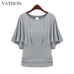 Wholesale Cloak T Shirts - Wholesale- YATHON Fashion Cloak O-neck Slim Stretchy Tops Women New Pinup Solid Cotton Blend Loose Casual Work Office Plus Size 5xl T-Shirt