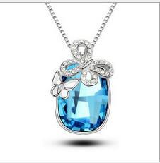 Wholesale Silver Blue Diamond Heart Necklace - Women Models Fashion Austrian Crystal Charms Butterfly Necklace Gold And Silver Plating Diamond Pendant Necklace Blue Jewelry for Xmas Gift