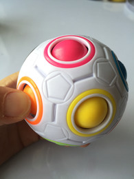 Wholesale Puzzle Ships - Wholesale- HOT Spherical Cube Rainbow Ball Football Magic Speed Cube Puzzle Children's Educational Toys Cubes GMF for baby free shipping