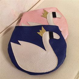 Wholesale Baby Girl Brand Purses - Wholesale- New Swan Pink and Blue Children Coin Purse Brand KIds Fashion Gold Crown Swan Messenger Bags Animal Print Baby Girls Decoration