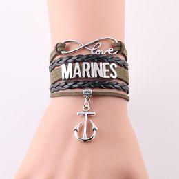 Wholesale Infinity Marine - Wholesale- infinity love MARINES Bracelet Anchor charm leather wrap handmade bracelets & bangles for women men jewelry Drop Shipping