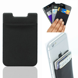 Wholesale Wholesale Card Stickers - Soft Sock Wallet Credit Card Cash Pocket Sticker Lycra Adhesive Holder Money Pouch Mobile Phone 3M Gadget iphone Samsung