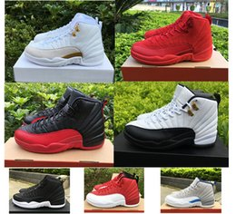 Wholesale French Army - Men basketball shoes sneakers air retro 12 ovo white black Flu Game wolf grey Gym red taxi french blue Suede wings gold baron