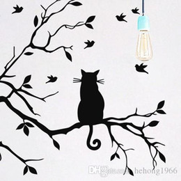 Wholesale Birds Wall Decal - Wall Stickers Stylish Black Cat Sit In Branches With Birds Decal Eco Friendly For Living Room Backdrop Home Decor 5 5kw F R