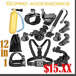 Wholesale Harness Pro - Go pro Accessories Set Helmet Harness Chest Belt Head Mount Strap Monopod For action camera Gopro Hero 4 3+ 2 1 xiaomi yi 12 in 1
