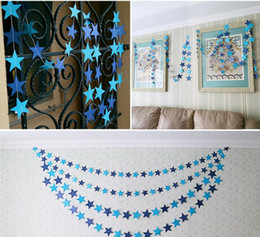 Wholesale Paper Hanging Star - Bunting Hanging Paper Star Garlands 4M Birthday String Chain Banner Ornaments Curtain Wedding Party Room Decoration G793