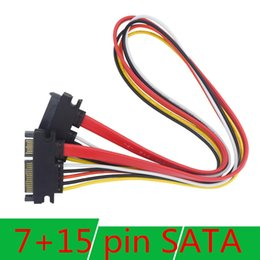 Wholesale Cable Female 15 Pin - Free DHL 30CM New 22 Pin Male to Female 7+15 pin SATA Data Power Combo Extension Cable