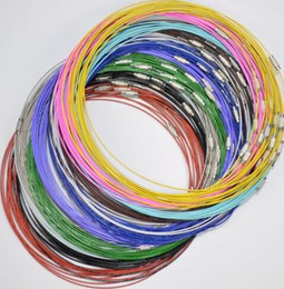 Wholesale Jewelry Wire For Choker Necklace - 100pcs Stainless Steel Wire Cords Loop Choker Screw Clasp Collar Choker Screw Clasp Necklaces & Pendants For Womens DIY Jewelry M1456