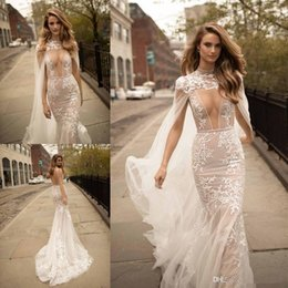 Wholesale Wedding Dress Detachable Cape - 2017 Berta Lace Mermaid Wedding Dresses With Detachable Cape Plunging Neck Backless Bridal Gowns Sweep Train Tulle Appliques Wedding Dress
