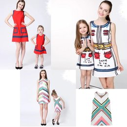 Wholesale Matching Mommy Daughter Dresses - Mother and Daughter Clothes Dresses 2017 Summer Family Clothing Mom and Daughter Printing Dress Family Matching Outfits Mommy and me clothes
