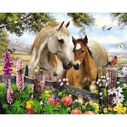 Wholesale Horse Paint Wall Art - flower bird horse animal DIY Diamond Painting Embroidery 5D Cross Stitch Crystal Square Home Bedroom Wall Art Decoration Decor Craft Gift
