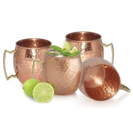 Wholesale Drums Cup - Hammered Copper plated Stainless Steel Copper Moscow Mule Mug Sets Drum-Type Beer Cup Water Glass Drinkware I017