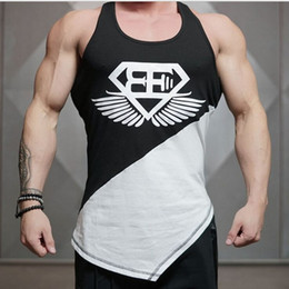 Wholesale Sexy Man Handsome - Wholesale- Muscle Fitness brothers BE vest Fitness vest breathableand leisure Slim new summer handsome male model vest