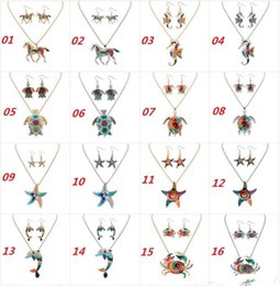 Wholesale Horse Earring Charms - Ethnic Jewelry Sets Rainbow Horse Rainbow Tortoise Pendant Necklace & Earrings Sets Gold Silver Colorful Drip Resin Charm Gift For Women