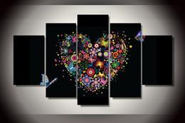 Mariposas lienzo abstracto online-Venta al por mayor abstracto de la lona del corazón y de la mariposa de las ilustraciones para la decoración de la sala de estar Decoración de la boda cuadros de la pintura ningún marco