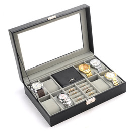 Wholesale Glass Ring Display Case - Fashion Black Leather 8 Grids Watch Box Ring Case Watch Organizer Jewelry Display Collection Storage Case With Glass Cover