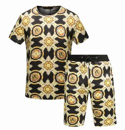 Wholesale Man Suit Motorcycle - new design Fashion Brand T Shirts Shorts Suit Summer Tracksuit Men High Quality Print Sportsuit Set Plus Size M-XXXL