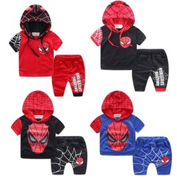 Ensembles de vêtements d'été spiderman en Ligne-Grossiste Combinaisons pour enfants Ensembles pour enfants Robes en jersey à manches courtes en été Tops Shorts 2pcs Set Pantalons Cartoon Spiderman Coton Vêtements pour enfants