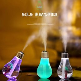 Wholesale Aroma Wedding - USB Ultrasonic Humidifier Home Office Mini Aroma Diffuser LED Night Light Aromatherapy Mist Maker Creative Bottle bulb