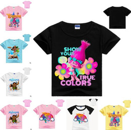 Wholesale Kids Tee Shirts For Boys - Kids Clothing T-shirt Summer Moana Summer Boys Girls Tees 28 Styles Trolls Shirt T-shirts for Girls Cotton Clothes Casual Tops