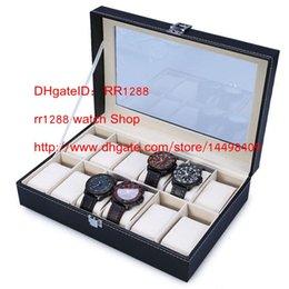 Wholesale Wood Jewelry Organizer Case - Wholesale Black PUleather 3Grid 5 Grid 10Grid 12 Grid professional Wrist Watch Display Box Jewelry Storage Holder Organizer Case Quality NO1