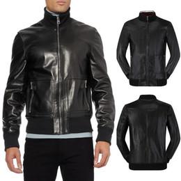 Wholesale Leather Biker Cuff - Black Solid Leather Biker Jacket Men PU Leather Outerwear Trim Fit Short Style Zip Pocket Knit Cuff Hem