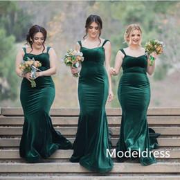 Wholesale dark blue velvet bridesmaid dresses - 2017 Dark Green Mermaid Bridesmaid Dresses Spaghetti Long Plus Size Velvet Maid Of Honor Dress Wedding Guest Party Prom Cheap Custom