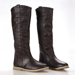 Wholesale Korean Shoes Flat Boots - Wholesale-New flat Knee High Boots Casual Shoes for Women South Korean Spring Boots women's fashion knee high boots shoes large size 34-43