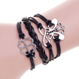 Wholesale Infinity Leaf Charms - Wholesale Personality DIY Infinity sliver butterfly Lucky no.8 Four Leaf Clover charm bracelet Men wax leather Black bracelets for gift
