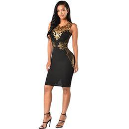 Mujeres vestidos de fiesta de verano 2019 negro oro lentejuelas bodycon dress sexy escote en v sin mangas vaina club midi vestido para las mujeres desde fabricantes