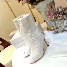 Wholesale Western Cowgirl Boots - 2017 Fashion gladiator cowgirl shoes peep toe slim brand designer short boots women thin high heels cut-Out denim ankle boots size 35-40