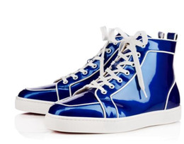 Wholesale Glossy Rubber - High Quality Discount Sale Rantus Orlato Men loubs Flat hightop sneaker men red bottom glossy blue   green bright leather luxe casual shoes