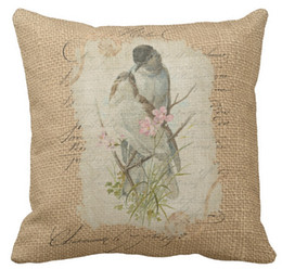"""Wholesale French Sofas - Throw Pillow Case, Victorian French Love Birds Love Song Square Sofa and Car Cushions Cover, """"16inch 18inch 20inch"""", Pack of X"""