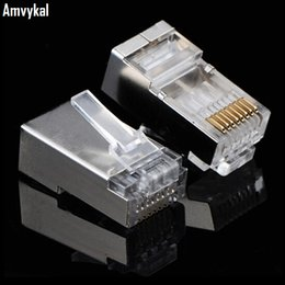 Wholesale High Quality Patch Cables - High Quality Metal Shield RJ45 8P8C Network CAT5E Modular Plug RJ-45 CAT5 Ethernet Lan Cable Modular Plug Adapter Connector