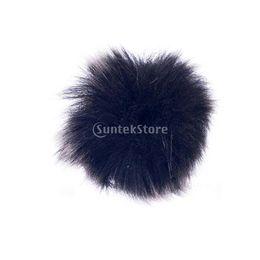 Wholesale Mic Windshields - Black Fur Windscreen Windshield Wind Muff for Lapel Lavalier Microphone Mic wholesale wind muff fur windscreen