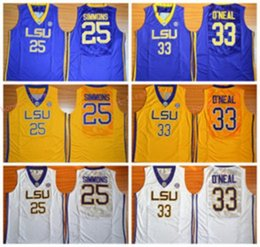 Wholesale Tiger Sleeveless Shirt - Wholesale LSU Tigers College Jerseys Fashion 25 Ben Simmons Jersey Shirt 33 Shaquille ONeal Uniforms O Neal Home Yellow Purple White