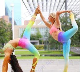 Wholesale Rainbow Leggings Tight - Gradient Color Rainbow Yoga Capris Pants Ballet Spirit Bandage Infinity Turnout Leggings Skinny Dance Tights Womens Gym Trousers