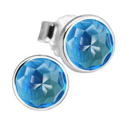 Wholesale Earring London - 2017 December Droplets Silver Earrings With London Blue CZ 100% 925 Sterling Silver Jewelry DIY