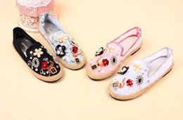 Wholesale Denim Diamonds Shoes - Top Quality Luxury Brand Women Tendon Thick bottom Sxey Soft Lace embroidery sequins diamond flowers lazy loafers Espadrilles Flats shoes