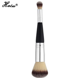 Wholesale Silver Makeup Brushes - HaLu Double Ends Makeup Brushes Eye Shadow Blush Synthetic Hair Cosmetic Brushes Wood Professional Single Make Up Beauty Tool