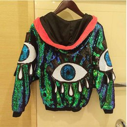 Wholesale Dancing Clothes Jazz - Women Stage Performance Jacket Sequined Big Eyes Sexy Girl Hip Hop jazz Dance clothing Female Costumes Coats Loose With Hats