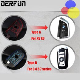 Wholesale Bmw Leather Holder - Car BMW x5 Leather Cowhide key Holder Case ring Dedicated Buttons Keychain cover accessories