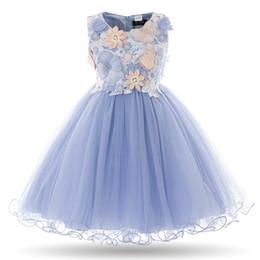 Wholesale Kids Wear Year Girl - Cielarko 2017 Kids Girls Flower Dress Children Girl Sleeveless Birthday Party Wear Bow Fancy Dress Baby Princess Clothes 3 Years