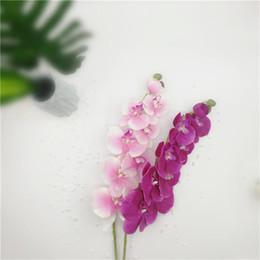 Buquê de flores de orquídeas on-line-Moda orquídea flores artificiais orquídea de seda buquê de flores phalaenopsis diy borboleta artificial casamento decoração de casa