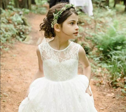 Wholesale Cheap Summer Dress Little Girl - 2018 Ivory Lace Beach Flower Girls Dresses For Wedding Cheap Summer Style Boho Little Girl Dresses Jewel Zipper Long Baby Kids Gowns
