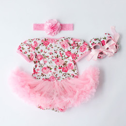 Wholesale Baby Rosette Shoes - 2016 New Spring Rosette Baby Girl Clothes,Newborn Cotton jumper Flower shoes headband set,Cute Kids short sleeve Romper
